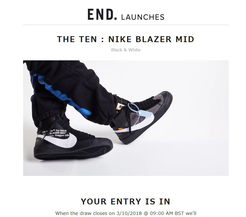 END. nike off white 抽選